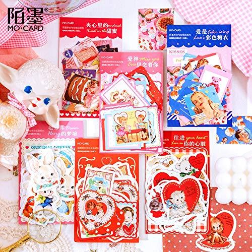 PMSMT Mes.Tarjeta corazón Historia Diario Etiqueta engomada de Papel Scrapbooking decoración Pegatina 1 Lote = 1 Paquete