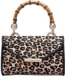 Leopard animal print envelop clutch purse women handbags Horse fur Leopard Clutch Handbag Fashion Envelop Wedding Formal Evening Bag Wallet Bamboo Handle Purse