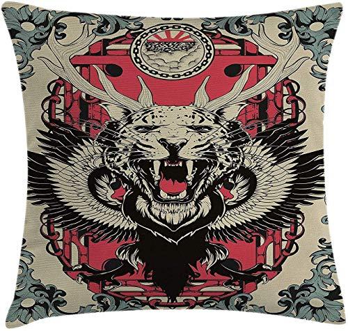 Jiger Animal Throw Pillow Cushion Cover, Abstract Gothic Drawing van een luipaard hoofd met hoorns en wings bloemen ornaments Art Decoratieve Square Accent Pillow Case, 18 x 18 inch, Multicolor