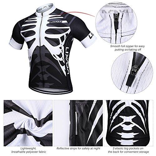 Lixada Herren Radtrikot Set, Atmungsaktiv Quick-Dry Kurzarm Radsport-Shirt + Gel Gepolsterte Shorts, (Schwarz&Weiß, S) - 4