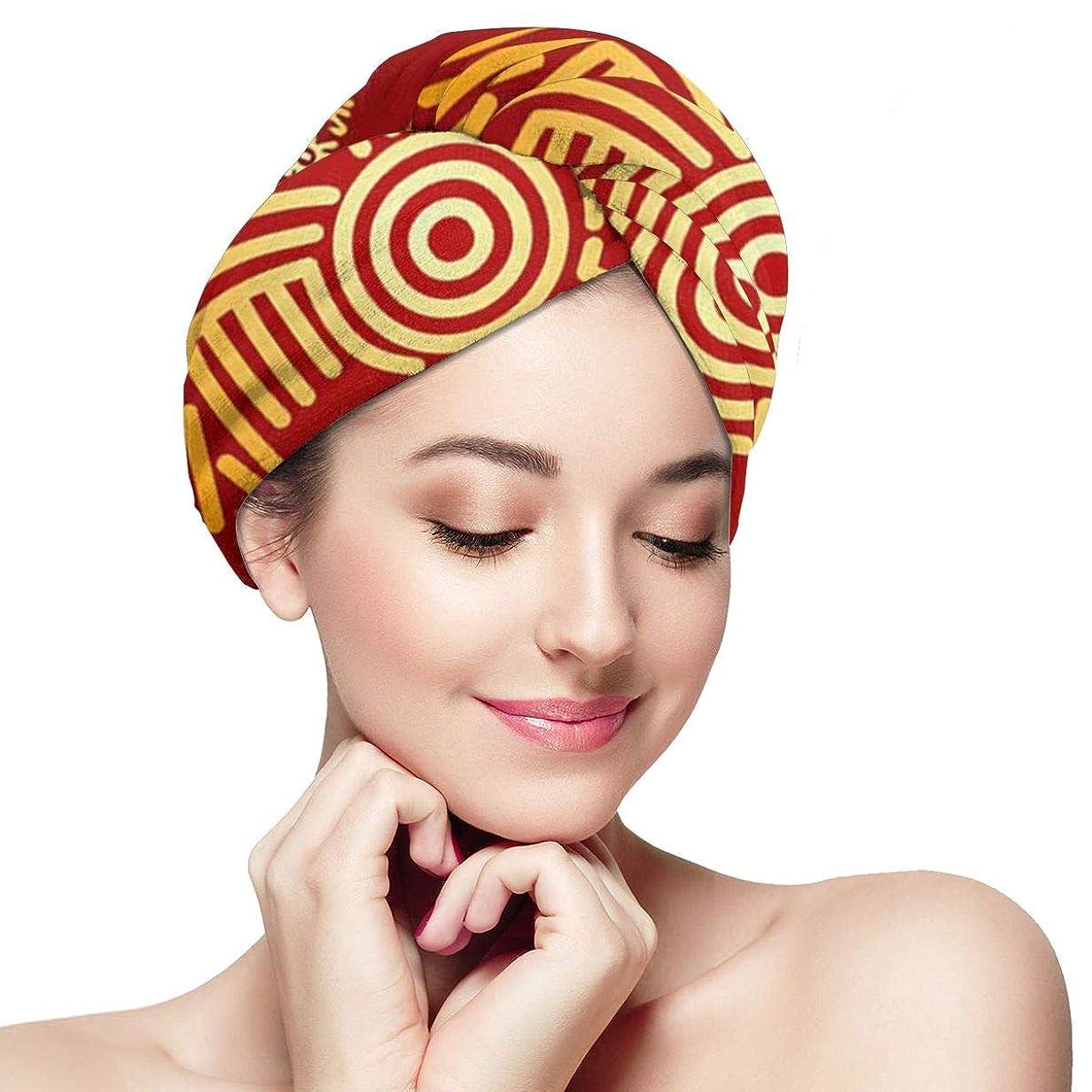 真珠のような処理する知覚できるインドのマヤのアステカ文化マイクロファイバー髪乾燥タオルボタン超吸収性ツイスト髪ターバンクイック乾燥キャップヘアラップ