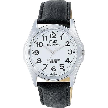 [シチズン Q&Q] 腕時計 アナログ ソーラー 防水 革ベルト H008-304 メンズ ホワイト
