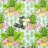 Stoffschreinerei Baumwollstoff (Tucan mit Ananas - weiß)