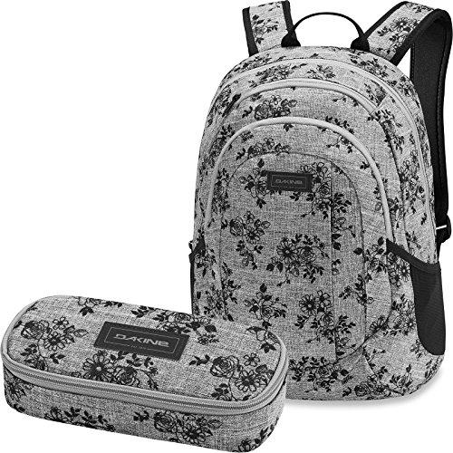 Dakine 2er SET Rucksack Schulrucksack Laptop 20l GARDEN + SCHOOL CASE Mäppchen Rosie