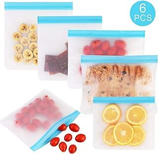 GOLDGE 6 Piezas Bolsas de Almacenamiento de Alimentos Reutilizable,Bolsas de Silicona Fruta Verdura Fruta Seca Carne y sándwich Bolsa de Almacenamiento