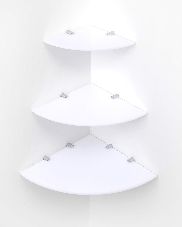 Mensola galleggiante in acrilico con supporti cromati disponibili in trasparente 500x100mm bianco bordi curvi BSM Marketing nero e bianco