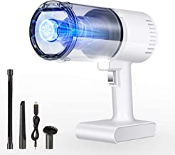 AREWTEC Aspirador de Mano Sin Cable, Aspiradora de Coche 5000Pa, Luz LED Aspirador Inalámbrico Húmedo/Seco para Automóvil/Hogar, Aspiradora con Filtro HEPA + 3 Boquillas con Cable USB YD611C