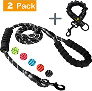 Snagle Paw Double Handle Dog Leash Bungee with Shock Absorbing Anti-Pull for Large and Medium Dogs, Elastic Dual Two Padded 2 Handles Reflective Lead for Traffic Safety Control Training and Walking