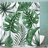 DIDIFU Duschvorhang Badezimmer Wasserdicht Schimmelresistent UV Art Hintergr& mit 12Haken, Polyester, Monstera, 180x180 cm