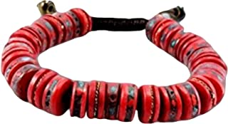 Tibetan Mala Embedded Medicine Wrist Mala for Meditation Handmade Draw String Silk Pouch