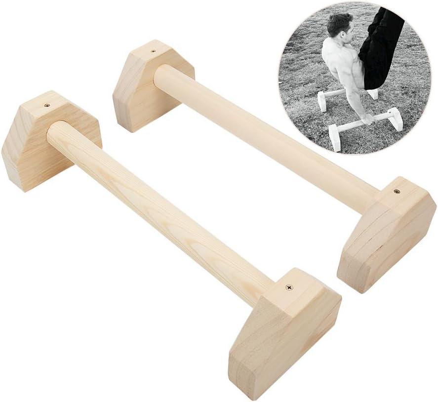 Lacyie Parallettes - Juego de 2 barras de madera con manillar de doble asa, para yoga, ejercicio, ejercicio, estante para la cabeza, barra doble