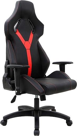 Topsky hohe Rückenlehne Racing Stil PU-Leder Executive Computer Gaming Bürostuhl Ergonomisches liegendes Design (Shwarz und Rot)