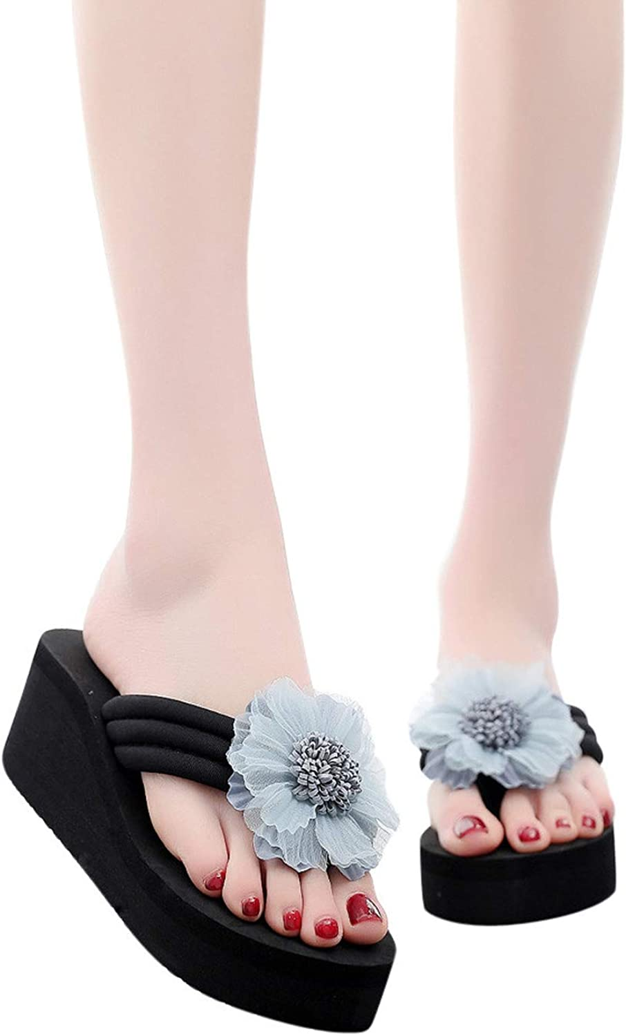 Joyhul 2019 New shoes Women Slippers Women's Ladies Summer Flower Home Wedges Beach shoes Sandals Flip Flops Slippers shoes De women,Light bluee,7,United States