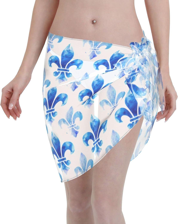 Women Short Sarongs Beach Wrap Blue Fleur De Lis Sheer Bikini Wraps Chiffon Cover Ups for Swimwear Wrap Skirts