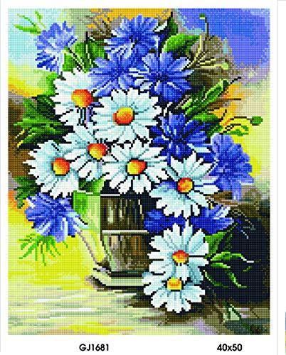 Diamond Vollbedeckung mit Holzrahmen Painting Set Bild 40 x 50 Diamant Malerei Stickerei Handarbeit Basteln Mosaik Steine Blumen Korb Haus am Bach (GJ1681)