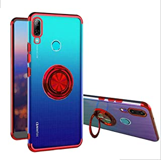 Huawei P Smart 2019 Case, [360° Ring Stand] Crystal Clear [Electroplated Metal Technology] Silicone Soft TPU [Shockproof Protection] Thin Cover Compatible with Huawei P Smart 2019 (Red, P Smart 2019)