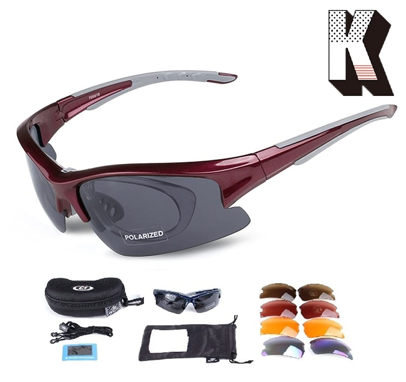 Kagogo Polarized Sports Sunglasses Sun Glasses with 5 Interchangeable Lenses for Men Women Baseball Cycling Running Hiking Golf Goggles