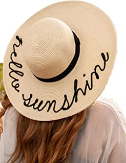 Summer Sun Protective Beach Hat for Women Extra Large Floppy Brim Embroidered