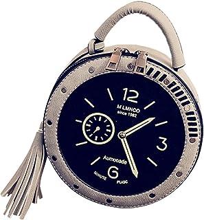 Guesthome Women's Fashion Circular Retro Clock Tassel Shoulder Bag Mobile Phone Purse Bag
