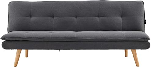 Sarantino 3 Seater Sofa Bed Lounge Couch Furniture Home Linen Fabric Dark Grey
