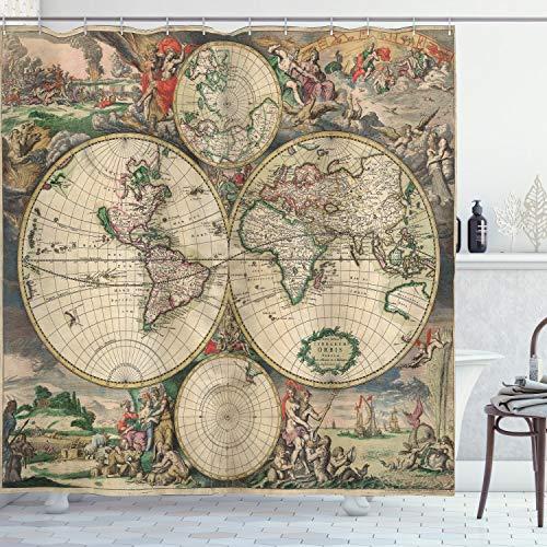 ABAKUHAUS Weltkarte Duschvorhang, Antike Klassiker, Waserdichter Stoff mit 12 Haken Set Dekorativer Farbfest Bakterie Resistet, 175 x 200 cm, Multicolor