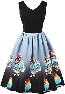 Wellwits Women's V Neck Tank Top Swing Fall A-Line 1950s Vintage Music Note Dress