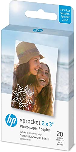 "HP Sprocket 2x3"" Premium Zink Sticky Back Photo Paper (20 Sheets) Compatible with HP Sprocket Photo Printers."