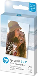 """HP Sprocket 2x3"""" Premium Zink Sticky Back Photo Paper (20 Sheets) Compatible with HP Sprocket Photo Printers"""