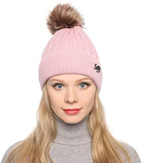 HNTDG Women Beanie Cap Knit Slouchy Chunky Baggy Hat with Faux Fur Pompom Winter Warm Thickened Knitted Ski Cap