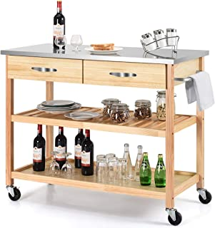 Giantex Kitchen Trolley Cart Rolling Island Cart Serving Cart Large Storage with Stainless Steel Countertop, Lockable Wheels, 2 Drawers and Shelf Utility Cart for Home and Restaurant Solid Pine Wood
