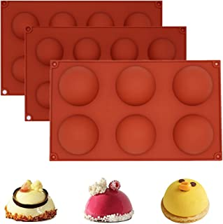 3 Pack Chocolate Molds Silicone, Semi Sphere Silicone Mold for For Making Bath Bombs,Cake, Jelly,Candy,Pudding,Soap Mousse...