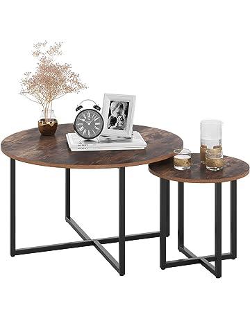 FlyingShadow Tavolino da caff/è Set da 3 Tavolini da Salotto tavolini in Metallo e Legno tavolini impilabili per Soggiorno Ingresso Camera da Letto Ufficio Marrone e Nero