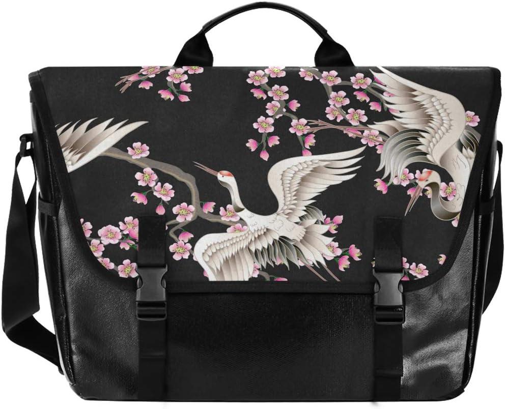 FICOO Messenger Bag for Men Messenge Detroit Mall Cherry Large-scale sale Crane Canvas Blossom