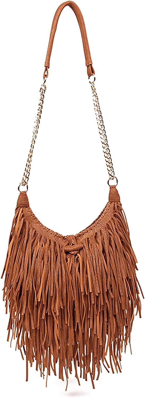 LUI SUI Women's Fringed Faux Suede Leather Cross Body Bag Chain Shoulder Bag Tassel Handbag