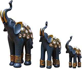 Vosarea 3pcs Cristal Strass Elefante Figuras Decorativas Adhesivas Resina Elefante Estatua decoración de Mesa Escultura