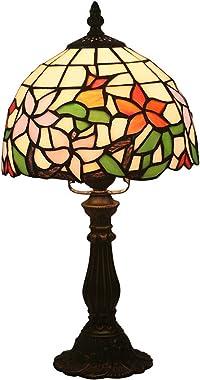 DIMPLEYA Tiffany Style Table Lampe de Chevet, Lampe de lit en Verre taché Lampe de Lecture pour Salon Chambre à Coucher, Base
