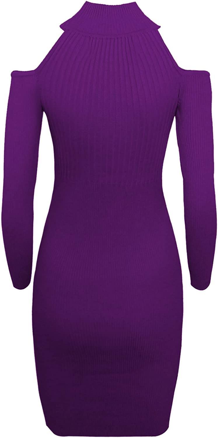 TAM WARE Women Casual Slim Fit Knit Front Keyhole Sweater Bodycon Dress