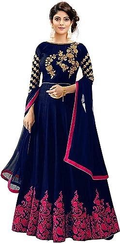 Women s Taffeta Silk Embroidered Long Anarkali Gown for Women blue pink