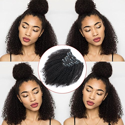 Lovrio Afro Kinky Curly Brazilian Clip in Human Hair Extensions Double Weft Real Remy Virgin Hair for Black Women 7 Pieces 120g with 17 Clips 16 Inch
