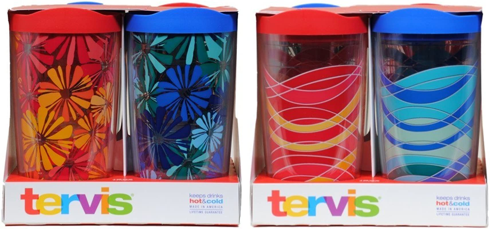 Tervis Tumbler 16oz Wave Celb Flower Wrap Design 4 Pack