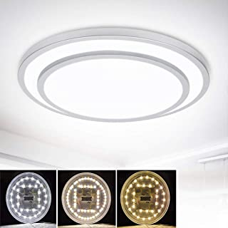 DLLT 48W Dimmable Led Flush Mount Ceiling Light Lighting with Remote-20 Inch Close to Ceiling Lights Fixture for Bedroom/Living Room/Dining Room, 3000K-6000K Color Changeable
