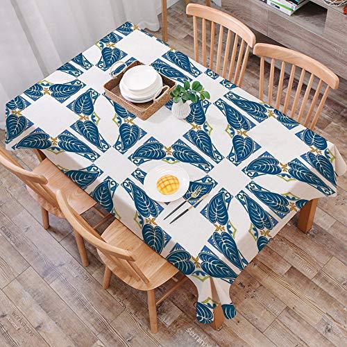 Tischdecke abwaschbar 140x200 cm,Traditionelles Dekor, Portugiesisches Pflaster Azulejo Mosaik mit diagonalem Quadrat und Formen, Bl,Ölfeste Tischdecke, geeignet für die Dekoration von Küchen zu Hause
