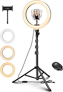 "ELEGIANT 10"" Aro de Luz Selfie Trípode, Anillo de Luz LED con Soporte para Móvil con Control Remoto Regulable para Transmi..."