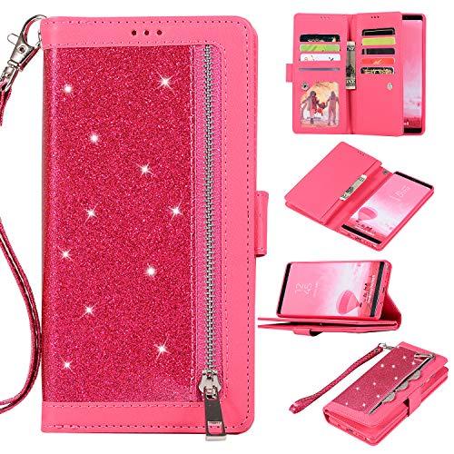 Artfeel Glitzer Reißverschluss Brieftasche Hülle für Samsung Galaxy Note 8,Bling Glänzend Leder Handytasche mit 9 Kartenfächer,Flip Magnetisch Stand Schutzhülle mit Handschlaufe-Rot