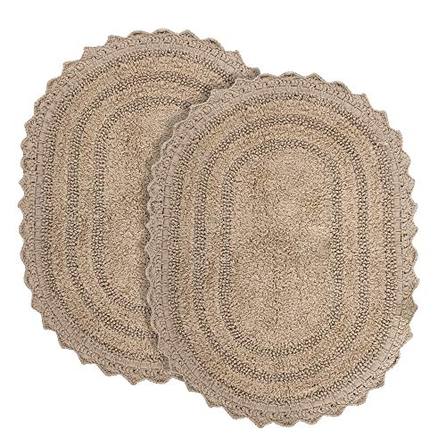 Tappeti Bagno per Soggiorno e Cucina - Set di 2 Color Beige, Forma Ovale 61x43 cm in Puro Cotone - Tappetino Bagno per Casa Hotel e Ristorante - Assorbente - Lavabile in lavatrice