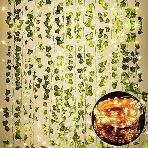 25m 12 Stück Efeu Blätter Girlande Künstlich Gefälschte Pflanzen mit 100 LEDs Lichterketten Lamp String Hängend für Home Garten Hochzeit Gefälschte Grün Decor…