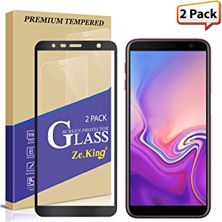 [2-Pack] Samsung Galaxy J6 Plus Full Coverage Screen Protector Tempered Glass, Zeking 0.33mm 2.5D Edge 9H Hardness [Anti Scratch][Anti-Fingerprint] Bubble Free, Lifetime Replacement Warranty (Black)