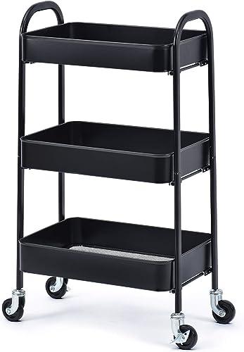 kingrack Storage Trolley on Wheels, 3-Tier Rolling Cart,Utility Cart with Metal mesh Basket Organization, Mobile Stor...