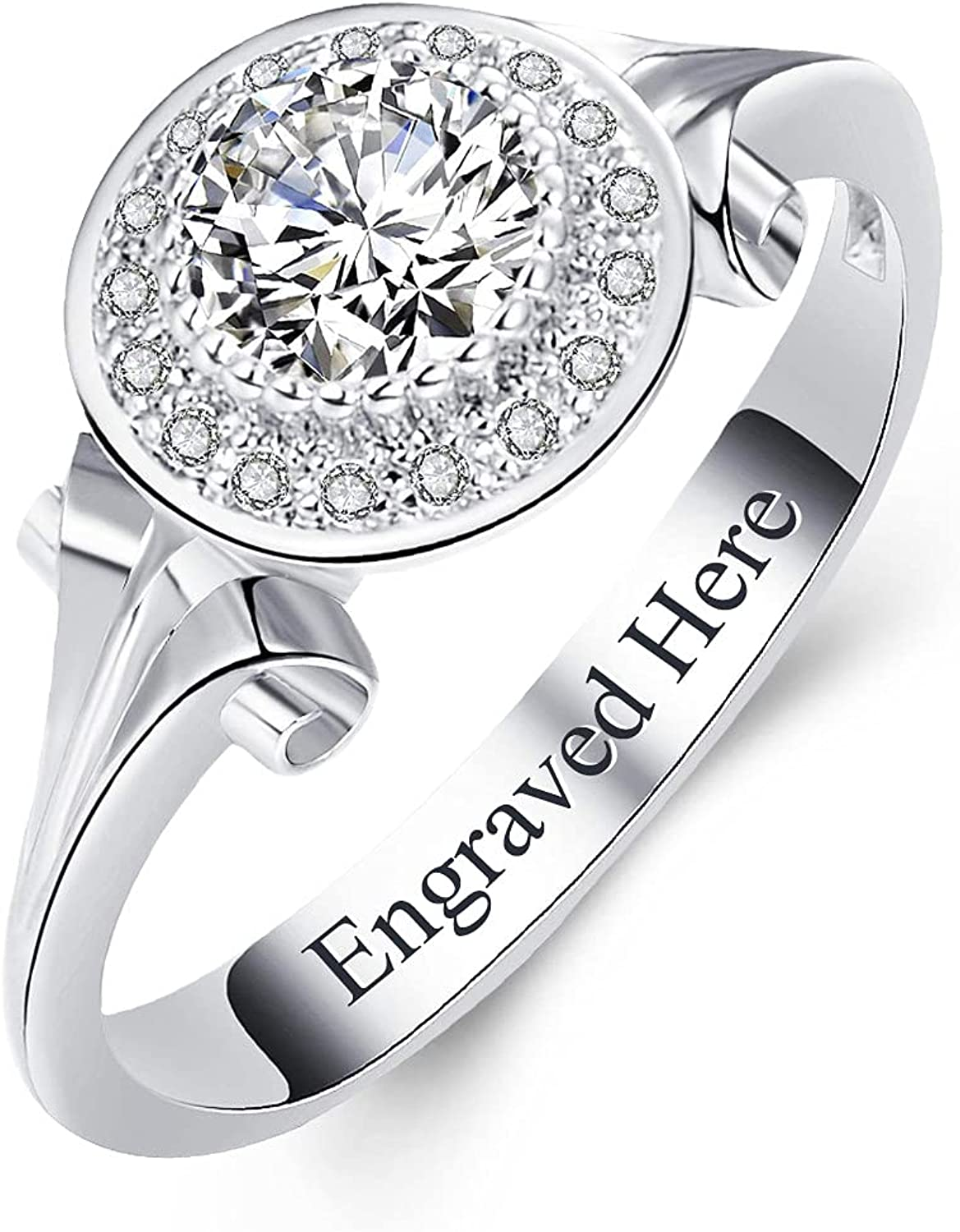 All Max 45% OFF items free shipping DIYA Round Cut 6.5mm 1.00ct Silver halo Moissanite Sterling Prop