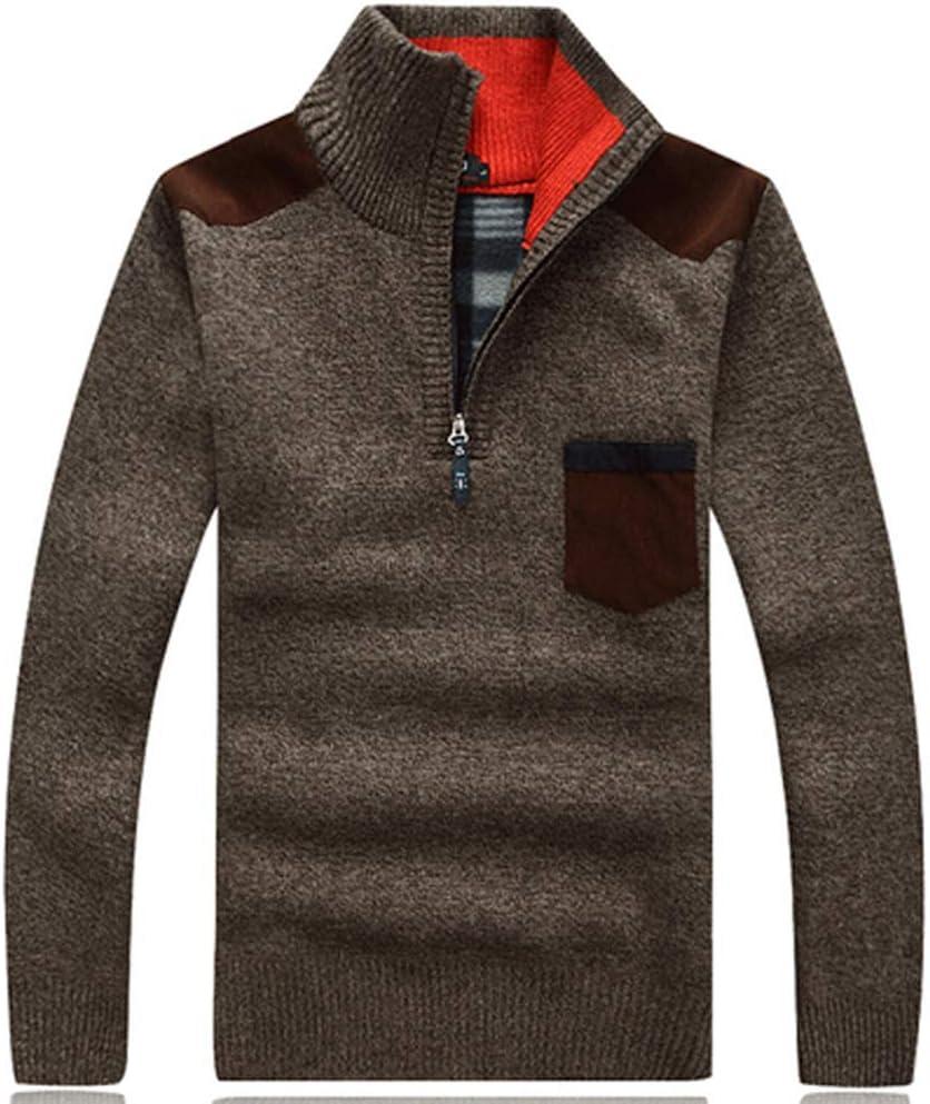 Hzikk Winter Sweaters Men's Pullovers Warm Thick Knitwear Mens Sweater Casual Cashmere,Khaki,M